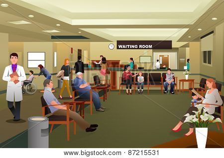 Patients Waiting In A Hospital Waiting Room