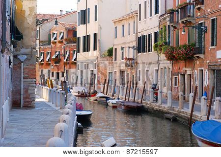 Boats On The Channel In Venice