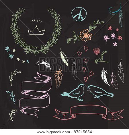 Vector hand drawn spring graphic set on blackboard.