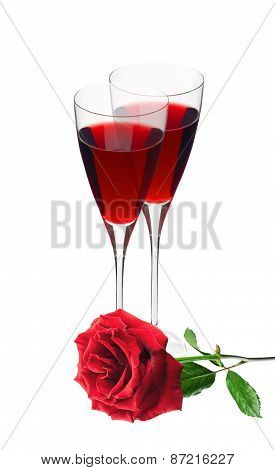 Two Glass With Red Wine And Red Rose Isolated On White