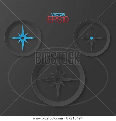 Modern flat design compass with drop shadows