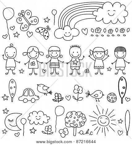 cute kids and nature elements pattern