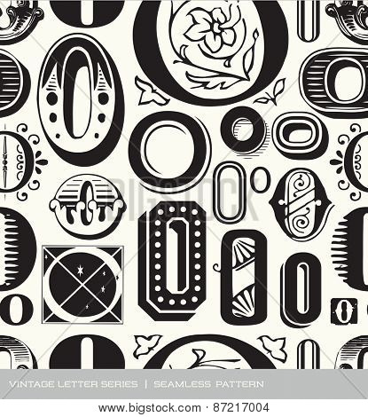 Seamless vintage pattern of the letter O