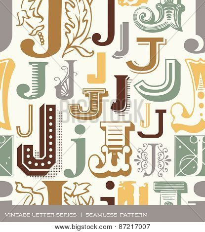 Seamless vintage pattern of the letter J in retro colors