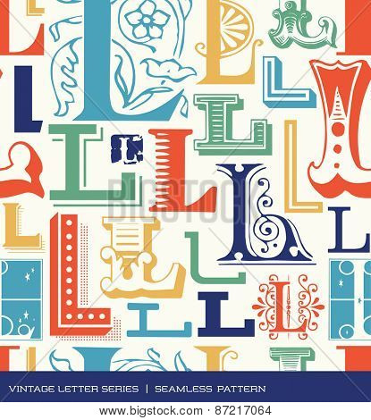 Seamless vintage pattern of the letter L in retro colors