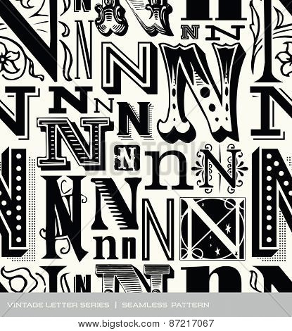 Seamless vintage pattern of the letter N