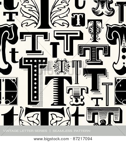 Seamless vintage pattern of the letter T