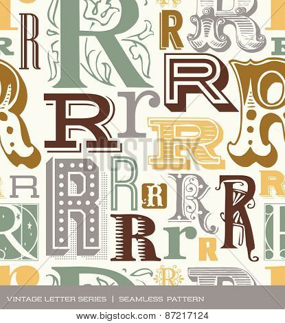 Seamless vintage pattern of the letter in R retro colors