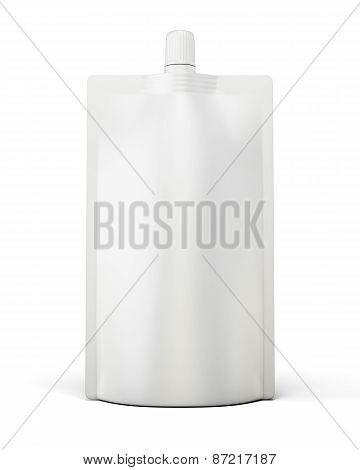 White Template Package Doypack Front View