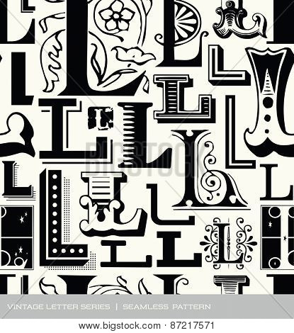 Seamless vintage pattern of the letter L