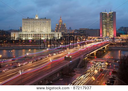 Government of Russian Federation, Novoarbatsky bridge in evening in Moscow, Russia