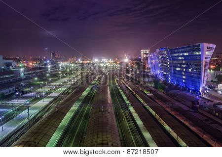Kievsky railwat station at beautiful cloudy night and panorama of Moscow, Russia. I have only one version of the photo with sharpening