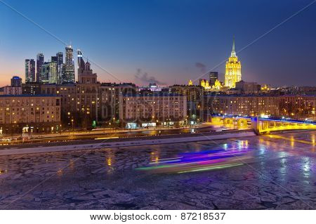House of Petroleum, Smolensky Metro Bridge, Hotel Ukraine, Moscow City Business Complex at night in Moscow. Long exposure