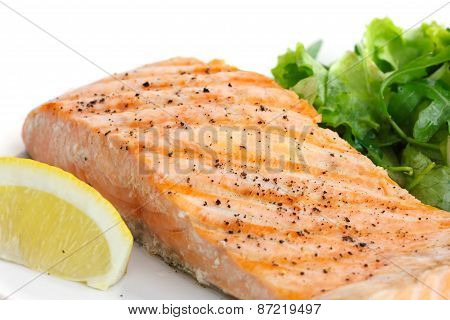 Grilled salmon fillet.
