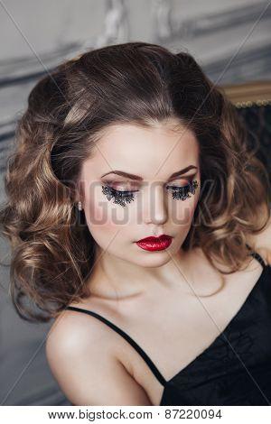 beautiful girl with unusual eyelashes