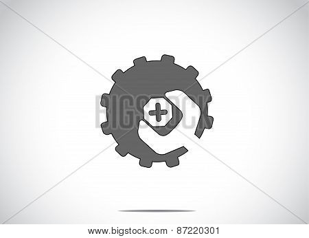 Black Colorful Cog Wheel Gear With Screw Nut Or Bolt & Spanner. Bright White Background With A Blue