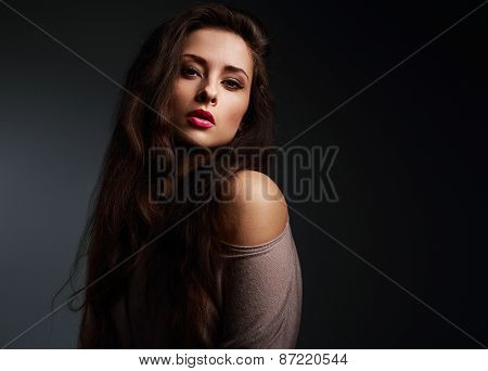 Sexy Long Hair Woman With Bright Makeup On Dark