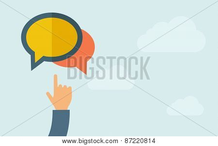 A hand pointing the blank bubble icon. A contemporary style with pastel palette, light blue cloudy sky background. Vector flat design illustration. Horizontal layout with text space on right part.