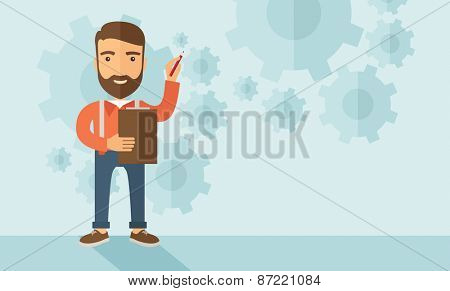 A hipster Caucasian employee with beard standing holding a pen presenting and sharing his report in marketing strategy inside conference room. Reporting concept. A contemporary style with pastel