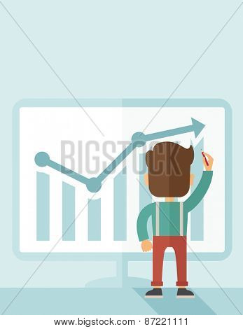 A Caucasian businessman facing backward standing infront of his chart holding a pen illustrating his marketing sales. Business growth concept. A contemporary style with pastel palette soft blue tinted
