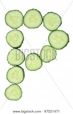Vegetable Alphabet Of Chopped Cucumber  - Letter P