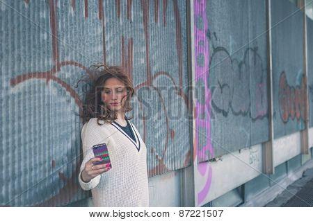 Beautiful Girl Taking A Selfie In An Urban Context