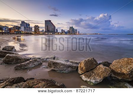 Amazing View Of The Evening Tel Aviv