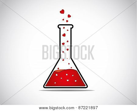 Lab Glass Beaker Or Test Tube With Red Liquid Producing Heart Shaped Fyling Love Bubbles - Love Affe