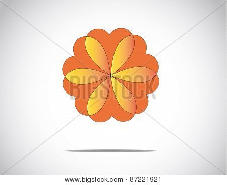 Unique Beautiful Red & Orange Flower With Heart Shaped Petals & Bright White Background - Concept Il