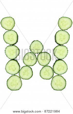 Vegetable Alphabet Of Chopped Cucumber  - Letter W