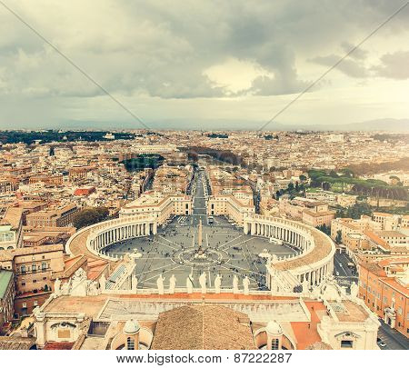 Saint Peter Square and Saint Peter Basilica, Vatican City, Rome, Italy