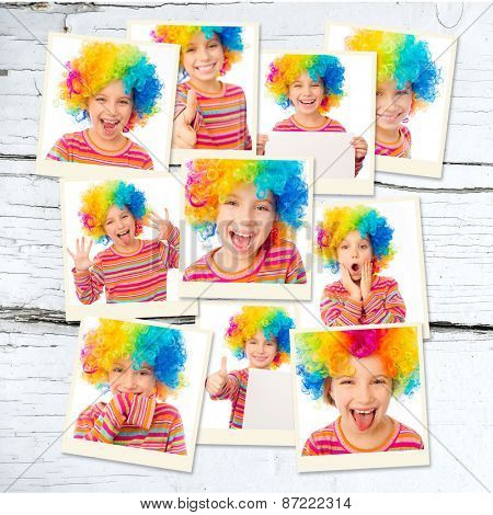 photo collage girl in a colorful wig and striped T-shirt