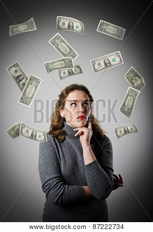 Girl In Grey And Dollars.