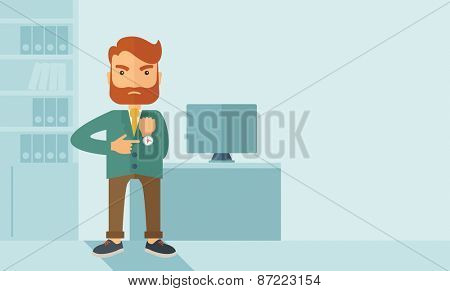 A hipster Caucasian businessman with beard standing angry pointing his wristwatch inside his office. Angry concept . A contemporary style with pastel palette soft blue tinted background. Vector flat