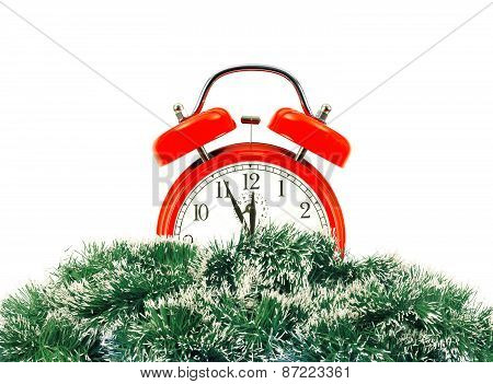 Green Christmas Tree And Clock Isolated On White