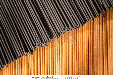 Black And Brown Spaghetti Sticks Togehter.