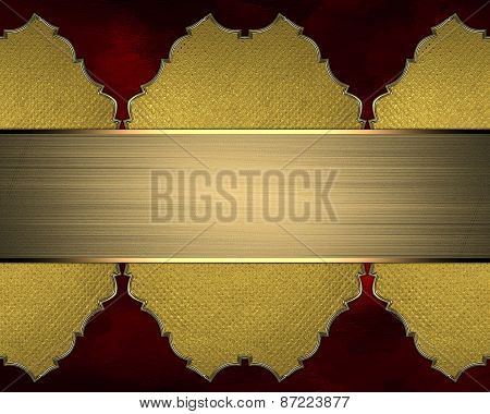 Gold Element For Design. Template For Design. Gold Ornaments On A Red Background With Gold Ribbon