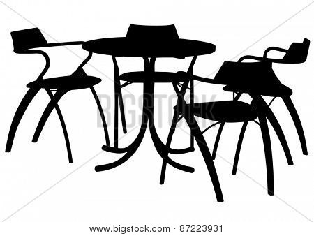 Tables and chairs in a cafe on a white background