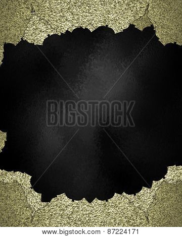Gold Element For Design. Template For Design. Black Texture With Gold Torn Edges