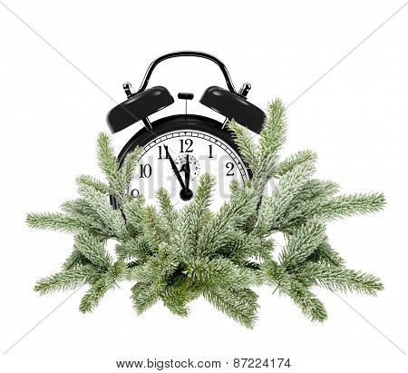 Green Christmas Tree And Alarm Clock Isolated On White
