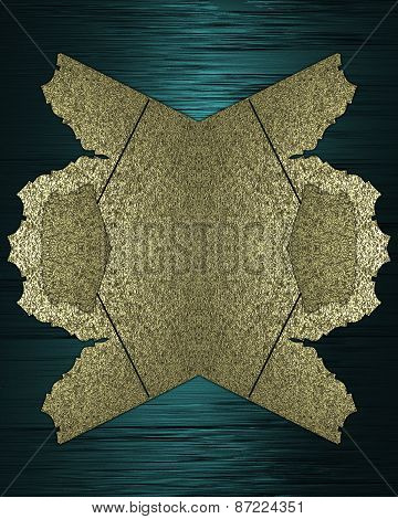 Gold Element For Design. Template For Design. Blue And Gold Background With Abstract Pattern