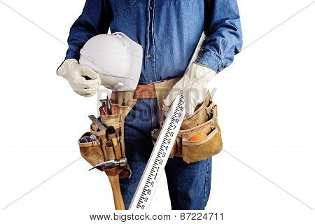 Carpenter Repair Man With Work Tool Belt Isolated On White