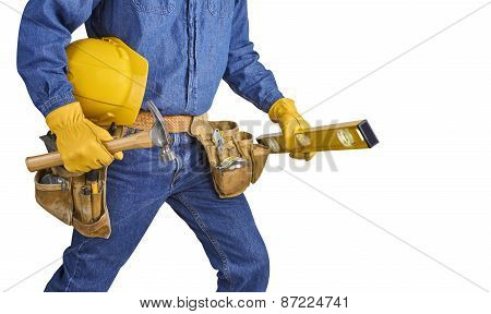 Contractor Carpenter Repair Man With Tools Isolated On White