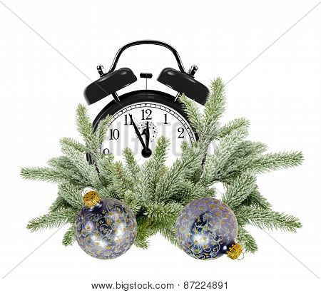 Green Christmas Tree, Decoration Balls And Alarm Clock Isolated On White