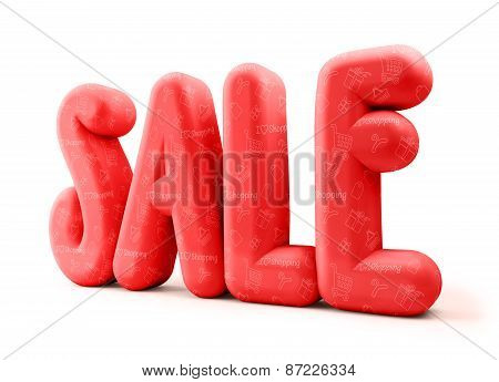 3D Rendered Illustration of Red Sale Word Title