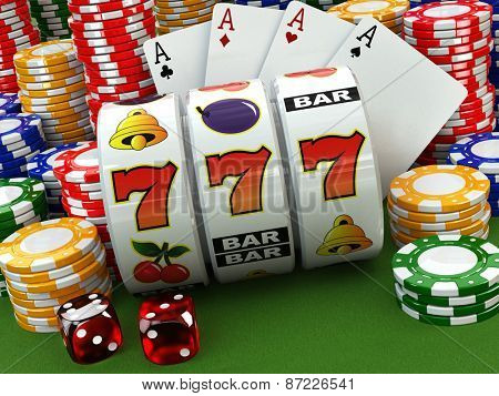 Casino concept. Jackpot. Poker cards, chips and dice. 3d