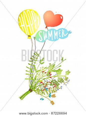 Colored Balloons and Bouquet Happy Summer Sign