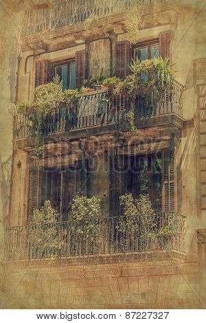 House Facade In Barcelona. Vintage Style.