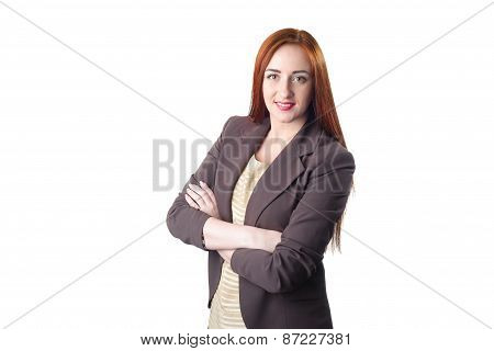 Successful Young Redhead Business Woman With Hands Folded Smiling Over White Backgroun