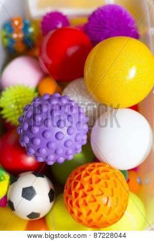 Large Number Of Colorful Plastic Toy Balls With Different Colors Together In A Basket